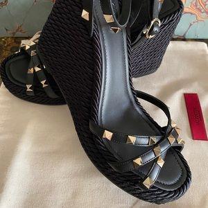 Valentino Rockstud Wedge Sandals  BLACK—Size US 10